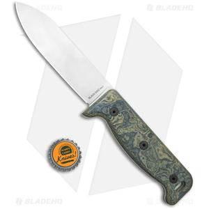 "Ontario Black Bird Fixed Blade Knife Green Micarta w/ Leather Sheath (5"" Satin)"