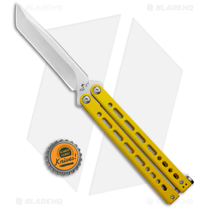 "Bear Ops Bear Song VIII Butterfly Knife Tanto Yellow Steel (4.5"" Satin)"