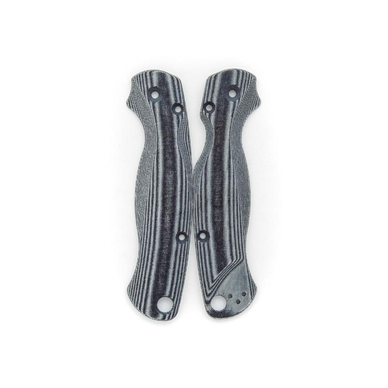 Lotus-Scales-Black-Linen-Micarta-for-Spyderco-Paramilitary-2-Knife