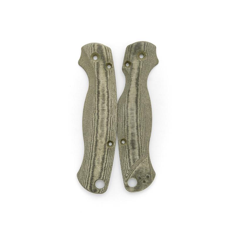 Lotus-Scales-Green-Linen-Micarta-for-Spyderco-Paramilitary-2-Knife