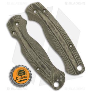 Flytanium Custom Green Linen Micarta Lotus Scales for Spyderco Paramilitary 2