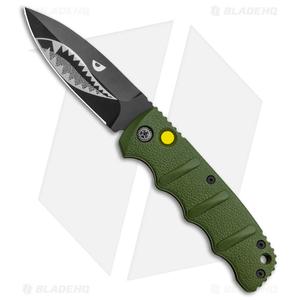 "Boker Warhawk Kalashnikov Dagger Automatic Knife Green (3.25"" Black D2)"