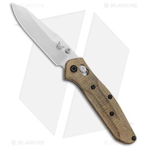 """Benchmade 945 Mini Osborne AXIS Lock OD Green Micarta Scales (2.9"""" Satin)"""